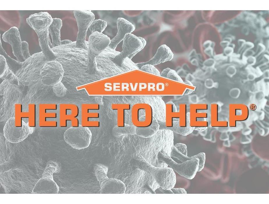Image of the coronavirus with the words We're here to help.